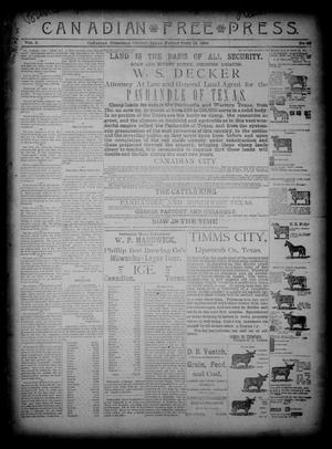 Primary view of object titled 'Canadian Free Press. (Canadian, Tex.), Vol. 2, No. 46, Ed. 1 Friday, June 14, 1889'.