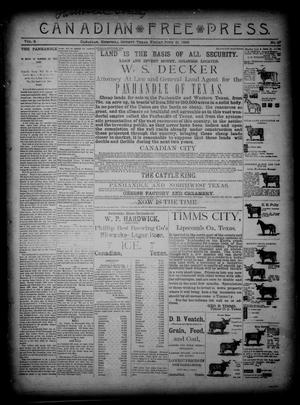 Primary view of object titled 'Canadian Free Press. (Canadian, Tex.), Vol. 2, No. 47, Ed. 1 Friday, June 21, 1889'.