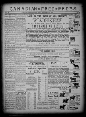 Primary view of object titled 'Canadian Free Press. (Canadian, Tex.), Vol. 2, No. 50, Ed. 1 Friday, July 12, 1889'.