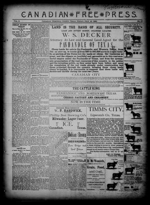 Primary view of object titled 'Canadian Free Press. (Canadian, Tex.), Vol. 2, No. 51, Ed. 1 Friday, July 19, 1889'.
