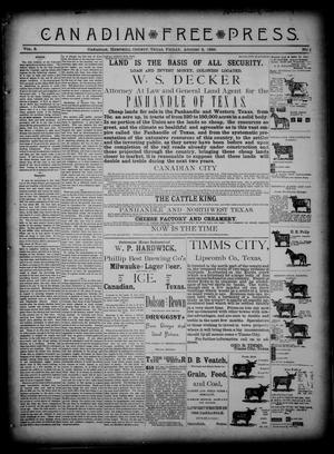 Primary view of object titled 'Canadian Free Press. (Canadian, Tex.), Vol. 3, No. 1, Ed. 1 Friday, August 2, 1889'.