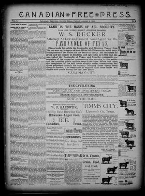 Primary view of object titled 'Canadian Free Press. (Canadian, Tex.), Vol. 3, No. 2, Ed. 1 Friday, August 9, 1889'.