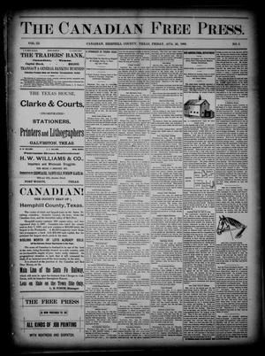 Primary view of object titled 'The Canadian Free Press. (Canadian, Tex.), Vol. 3, No. 5, Ed. 1 Friday, August 30, 1889'.
