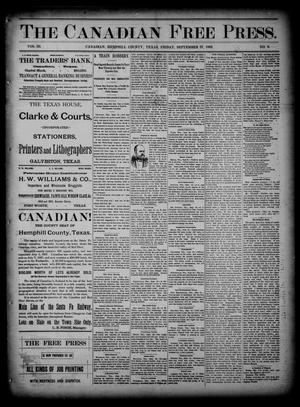 The Canadian Free Press. (Canadian, Tex.), Vol. 3, No. 9, Ed. 1 Friday, September 27, 1889