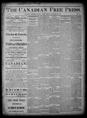 Primary view of object titled 'The Canadian Free Press. (Canadian, Tex.), Vol. 3, No. 18, Ed. 1 Friday, November 29, 1889'.