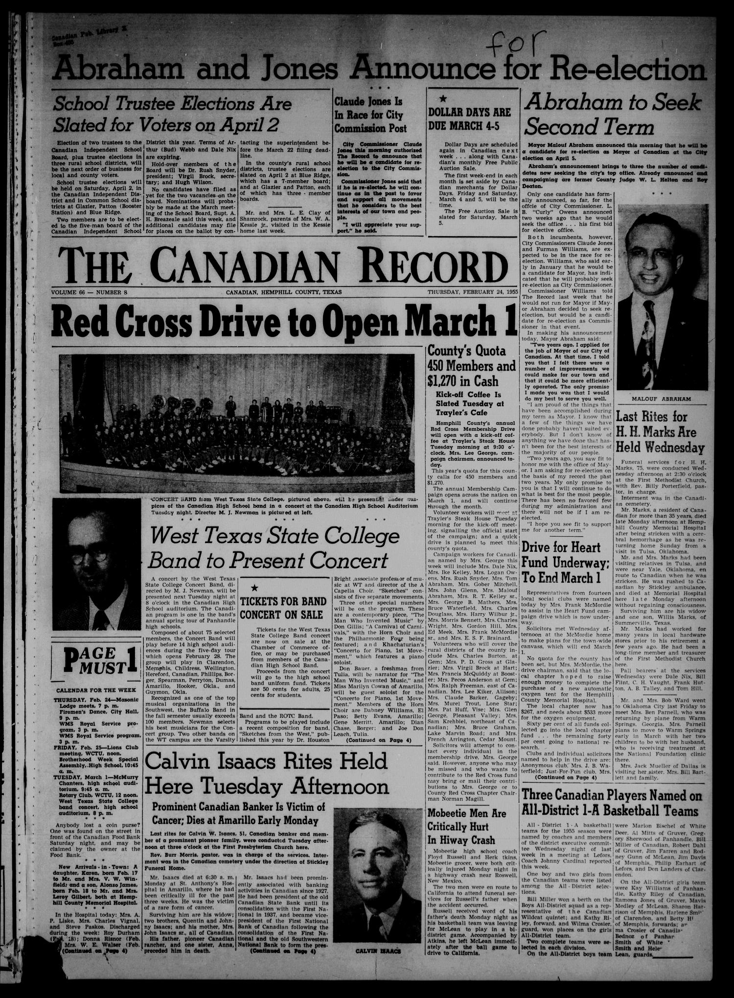 The Canadian Record (Canadian, Tex.), Vol. 66, No. 8, Ed. 1 Thursday, February 24, 1955                                                                                                      [Sequence #]: 1 of 8