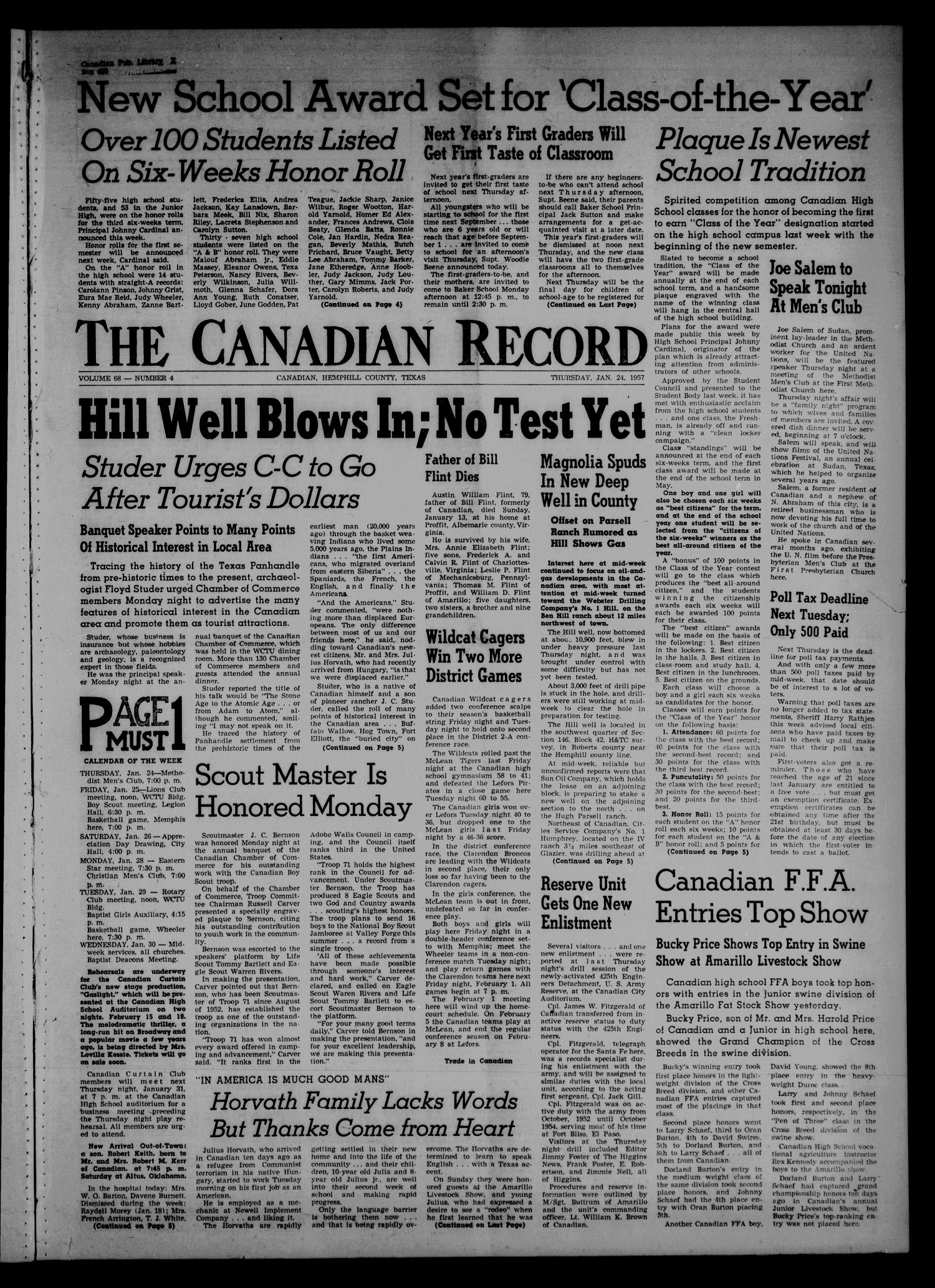 The Canadian Record (Canadian, Tex.), Vol. 68, No. 4, Ed. 1 Thursday, January 24, 1957                                                                                                      [Sequence #]: 1 of 8