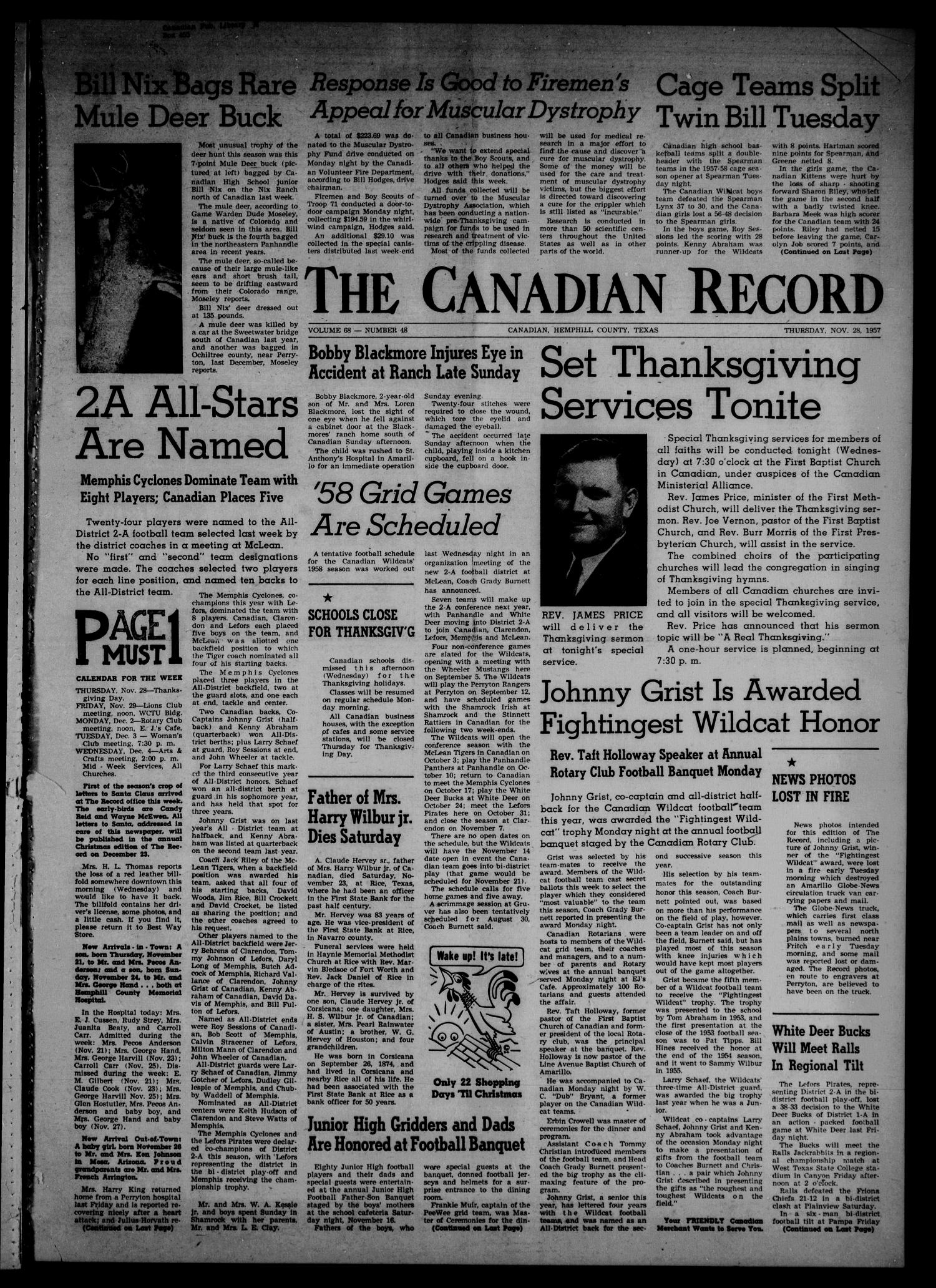 The Canadian Record (Canadian, Tex.), Vol. 68, No. 48, Ed. 1 Thursday, November 28, 1957                                                                                                      [Sequence #]: 1 of 8