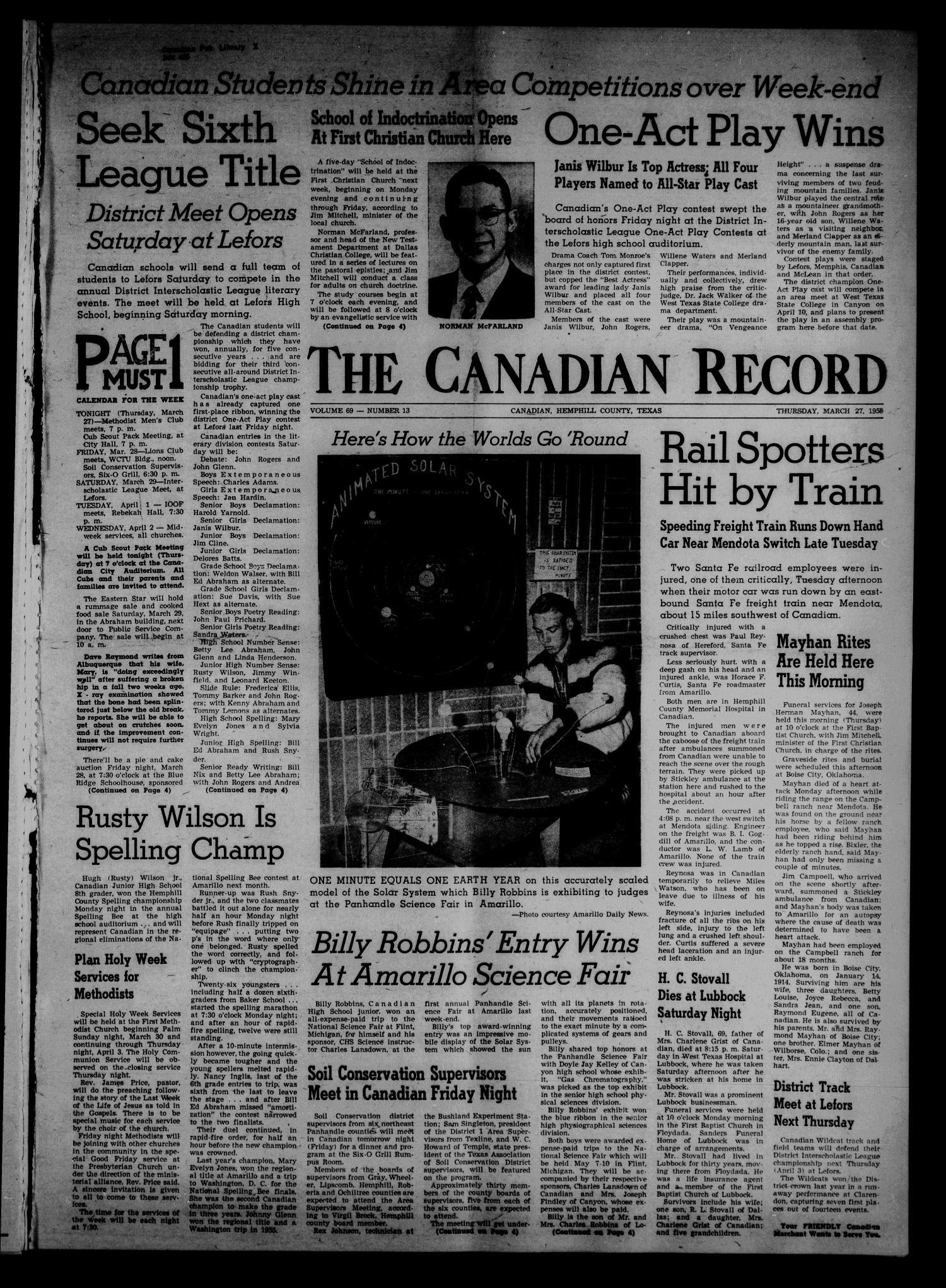 The Canadian Record (Canadian, Tex.), Vol. 69, No. 13, Ed. 1 Thursday, March 27, 1958                                                                                                      [Sequence #]: 1 of 8