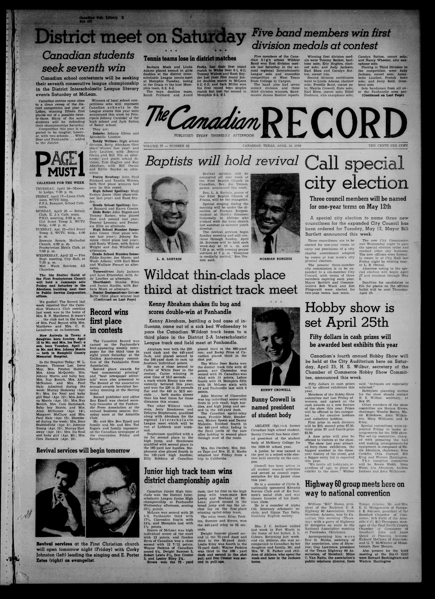 The Canadian Record (Canadian, Tex.), Vol. 70, No. 16, Ed. 1 Thursday, April 16, 1959                                                                                                      [Sequence #]: 1 of 8