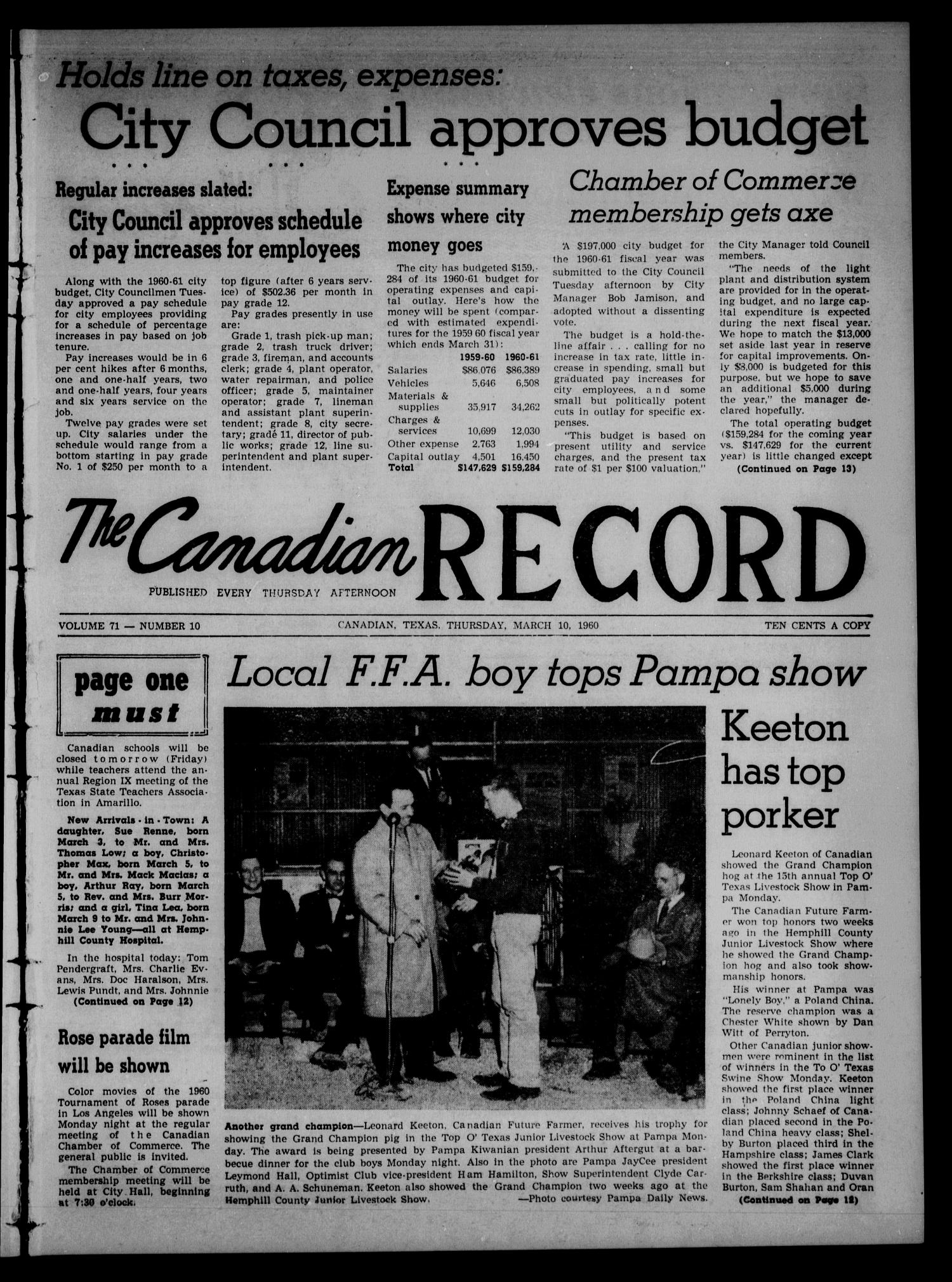 The Canadian Record (Canadian, Tex.), Vol. 71, No. 10, Ed. 1 Thursday, March 10, 1960                                                                                                      [Sequence #]: 1 of 16