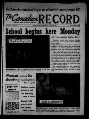 Primary view of object titled 'The Canadian Record (Canadian, Tex.), Vol. 71, No. 34, Ed. 1 Thursday, August 25, 1960'.