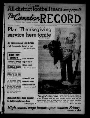 Primary view of object titled 'The Canadian Record (Canadian, Tex.), Vol. 71, No. 47, Ed. 1 Thursday, November 24, 1960'.