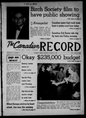 Primary view of object titled 'The Canadian Record (Canadian, Tex.), Vol. 72, No. 11, Ed. 1 Thursday, March 16, 1961'.