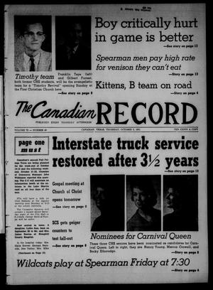 Primary view of object titled 'The Canadian Record (Canadian, Tex.), Vol. 72, No. 40, Ed. 1 Thursday, October 5, 1961'.