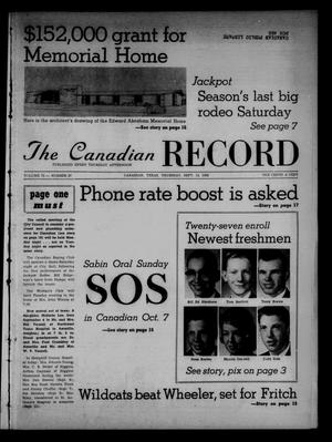 Primary view of object titled 'The Canadian Record (Canadian, Tex.), Vol. 73, No. 37, Ed. 1 Thursday, September 13, 1962'.
