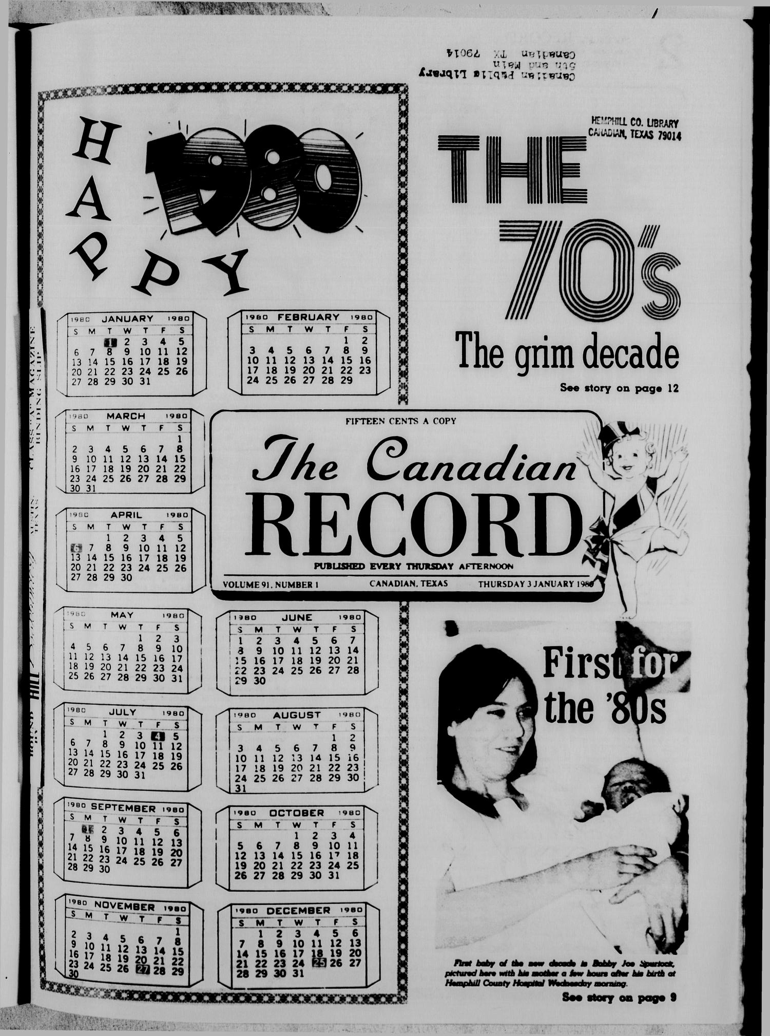 The Canadian Record (Canadian, Tex.), Vol. 91, No. 1, Ed. 1 Thursday, January 3, 1980                                                                                                      [Sequence #]: 1 of 24