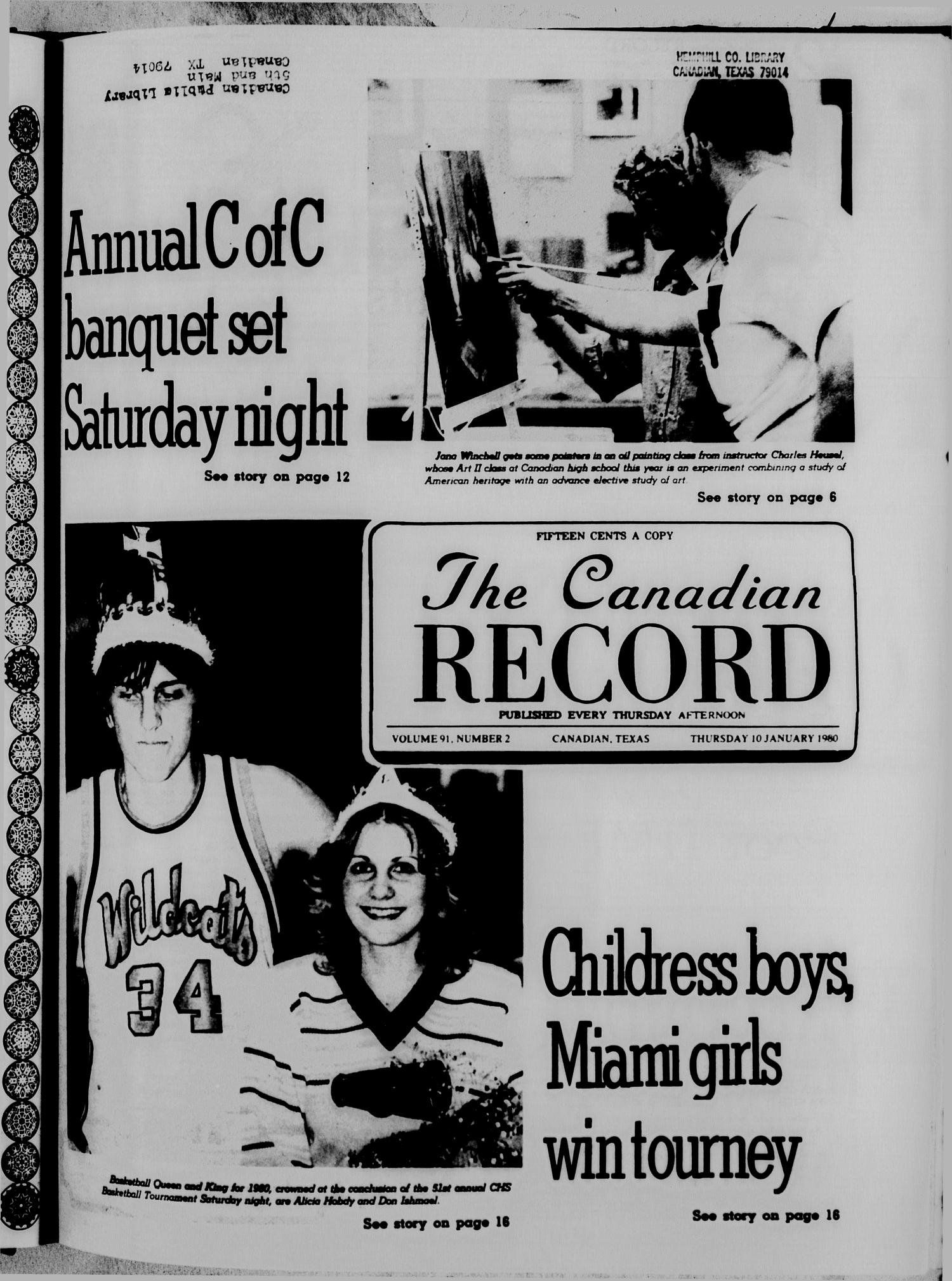 The Canadian Record (Canadian, Tex.), Vol. 91, No. 2, Ed. 1 Thursday, January 10, 1980                                                                                                      [Sequence #]: 1 of 32