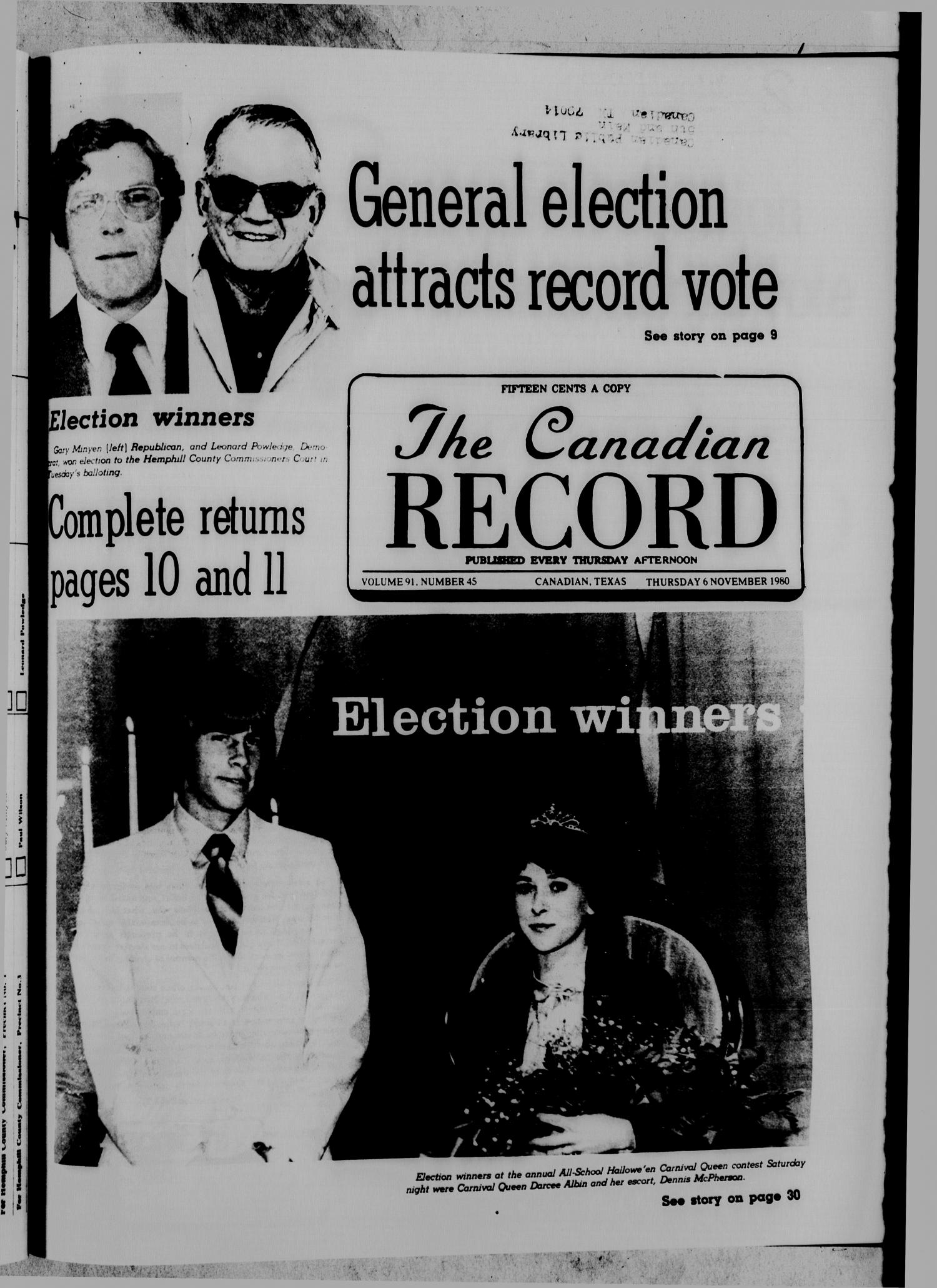 The Canadian Record (Canadian, Tex.), Vol. 91, No. 45, Ed. 1 Thursday, November 6, 1980                                                                                                      [Sequence #]: 1 of 40