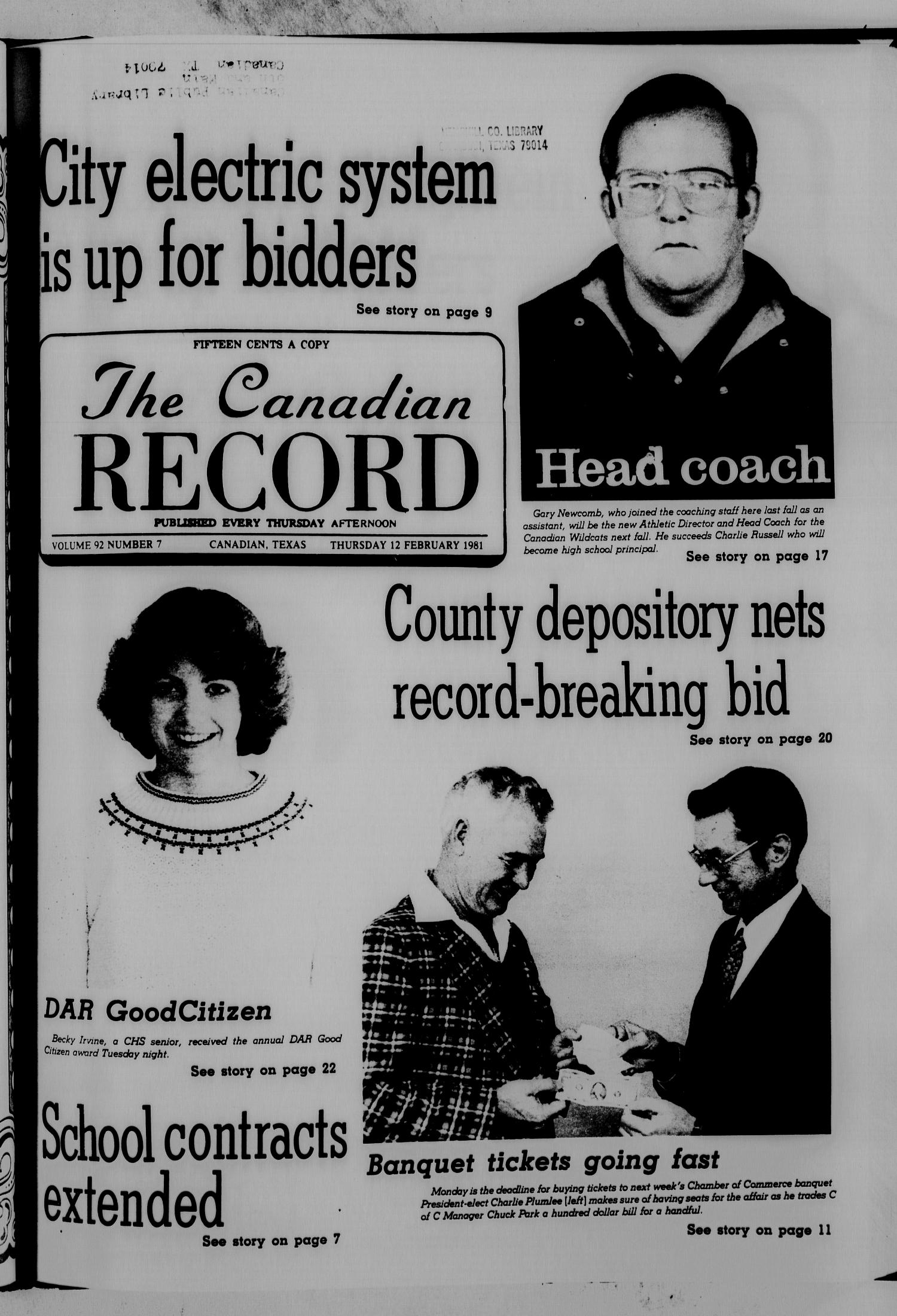 The Canadian Record (Canadian, Tex.), Vol. 92, No. 7, Ed. 1 Thursday, February 12, 1981                                                                                                      [Sequence #]: 1 of 32