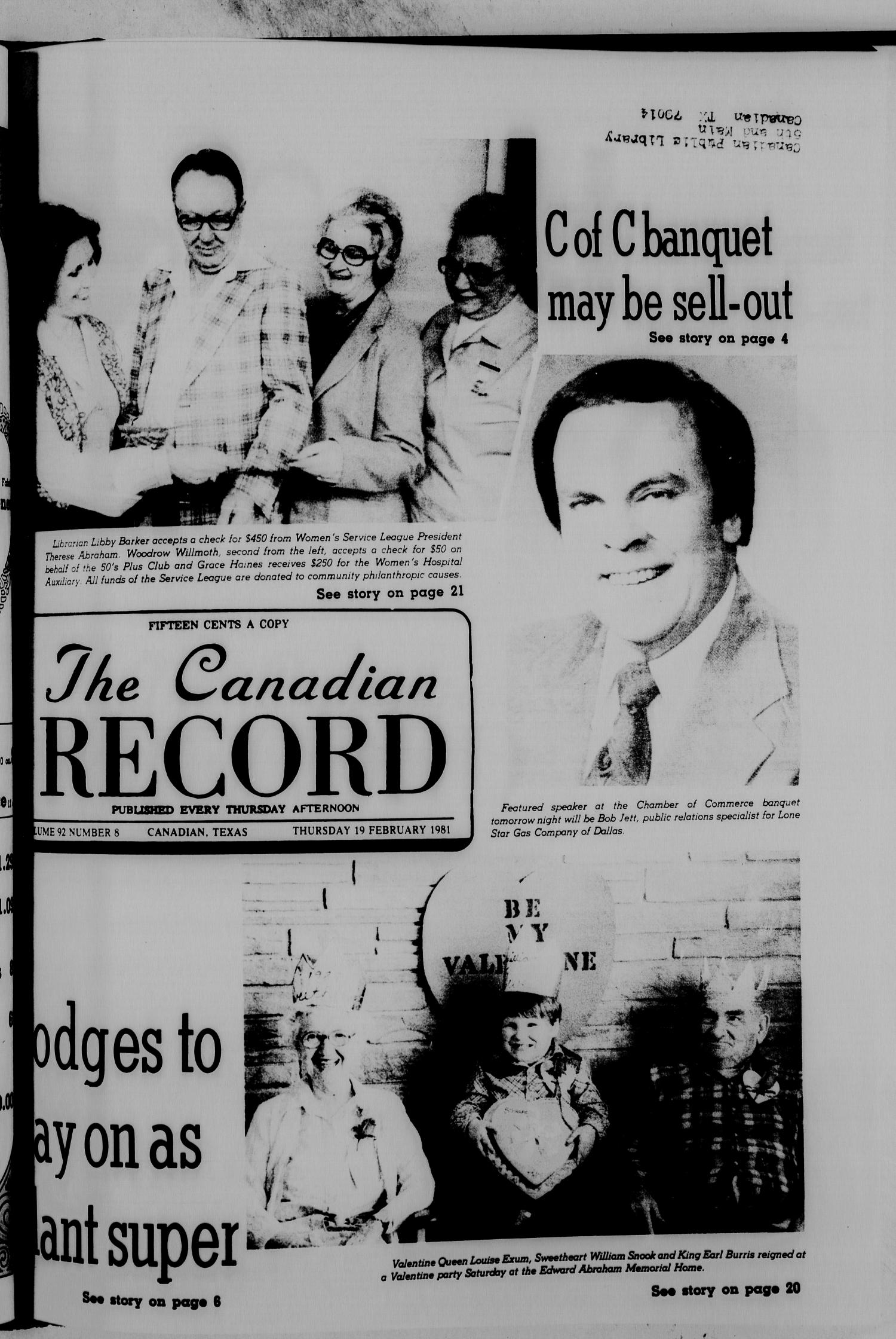 The Canadian Record (Canadian, Tex.), Vol. 92, No. 8, Ed. 1 Thursday, February 19, 1981                                                                                                      [Sequence #]: 1 of 36