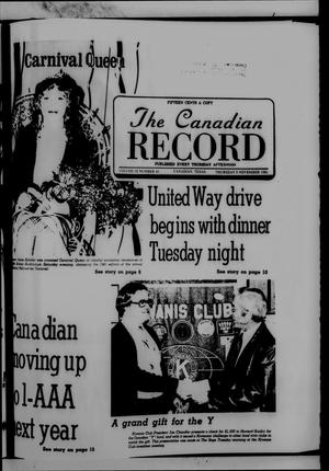 Primary view of object titled 'The Canadian Record (Canadian, Tex.), Vol. 92, No. 45, Ed. 1 Thursday, November 5, 1981'.