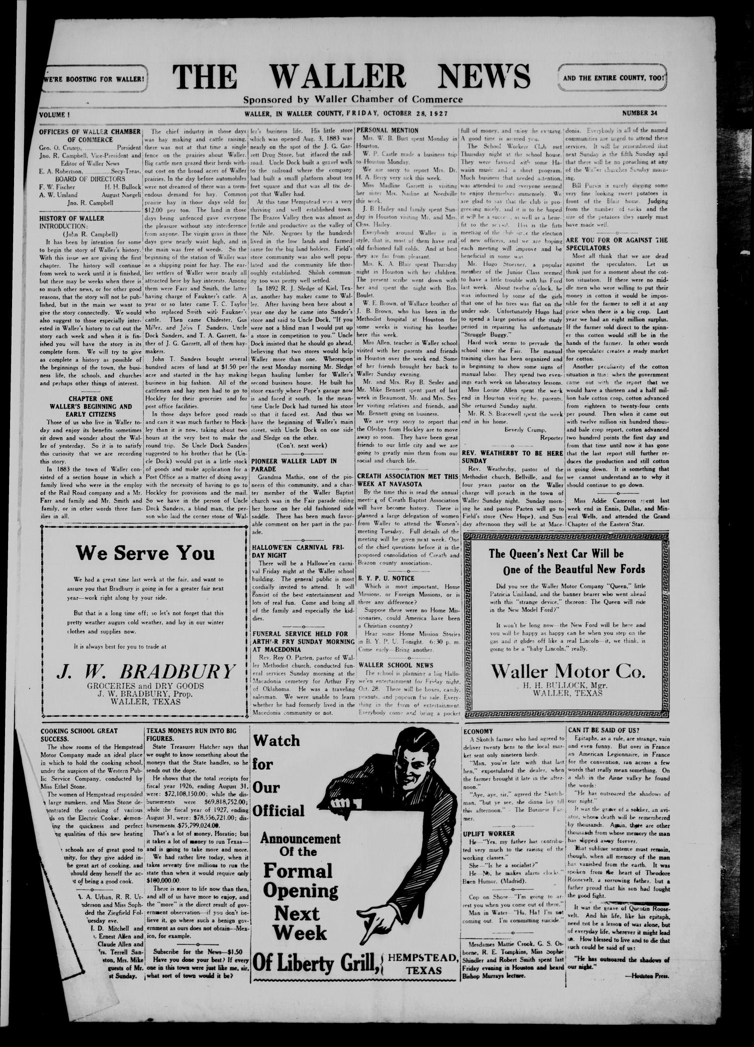 The Waller News (Waller, Tex.), Vol. 1, No. 34, Ed. 1 Friday, October 28, 1927                                                                                                      [Sequence #]: 1 of 4