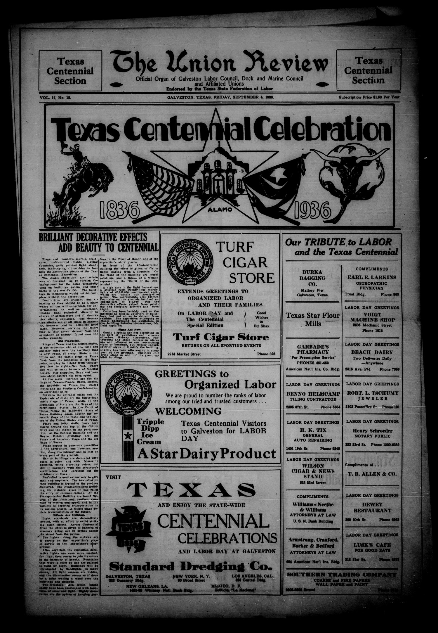 The Union Review. (Galveston, Tex.), Vol. 17, No. 18, Ed. 1 Friday, September 4, 1936                                                                                                      [Sequence #]: 1 of 16