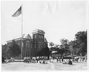 Primary view of object titled '[Students gathered outside Old Main, Weatherford College]'.