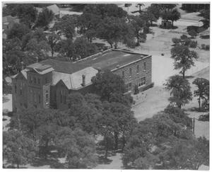Primary view of object titled '[Aeiral view of Old Main, Weatherford College, c. 1950]'.