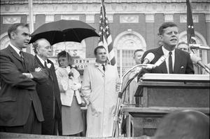 [President Kennedy speaking outside the Hotel Texas in Fort Worth]