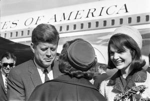Primary view of object titled '[The Kennedys greeting a woman at Love Field]'.