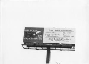 Primary view of object titled 'Billboard Announcing the Culmination of the Texas Sesquicentennial Wagon Train Trail'.