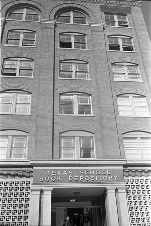 Primary view of object titled '[The entrance and part of exterior of the Texas School Book Depository]'.
