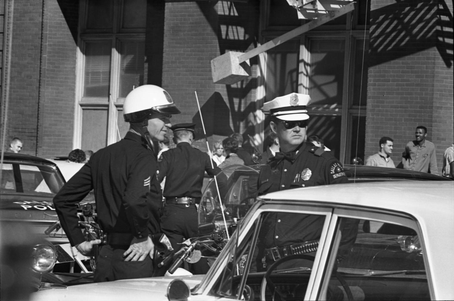 Dallas Police Officers In The Intersection Of Elm And