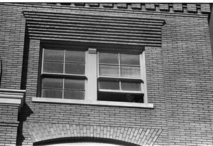 Primary view of object titled '[The alleged sniper's perch window at the Texas School Book Depository]'.