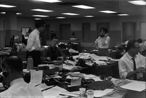 Primary view of object titled '[Dallas Times Herald newsroom on the night of November 22, 1963]'.