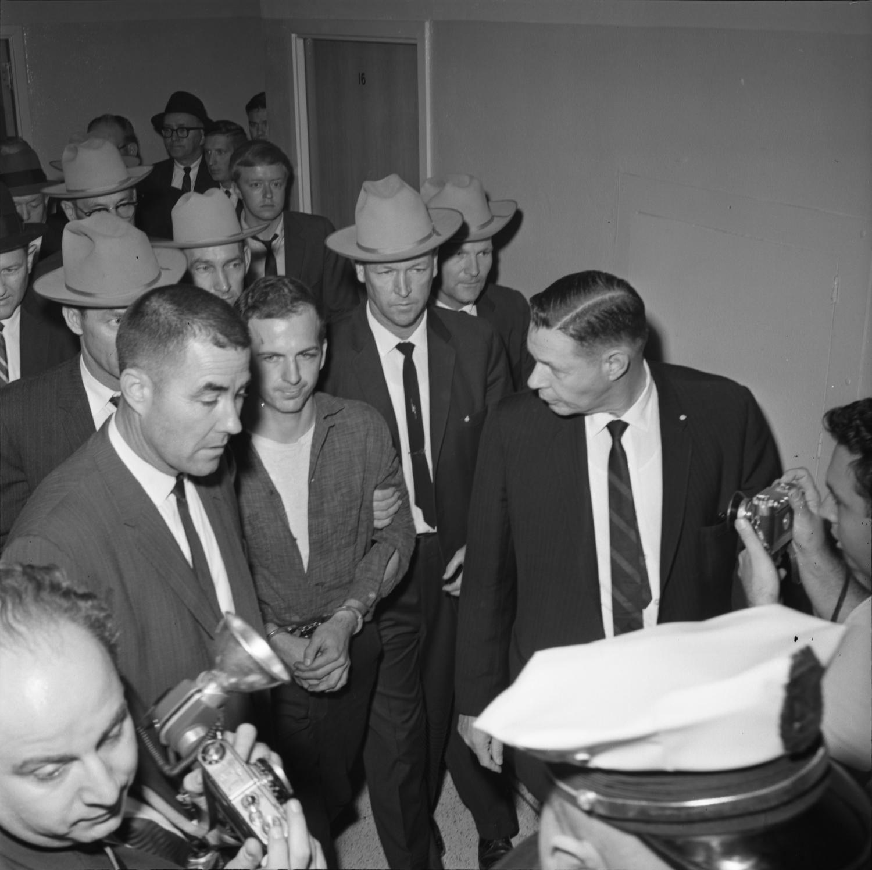 Lee Harvey Oswald at Dallas Police headquarters on November