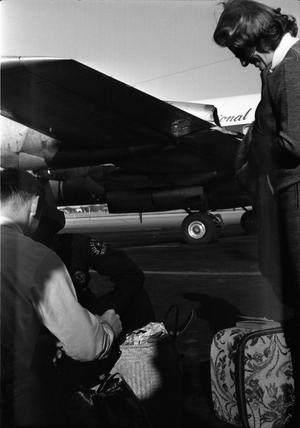 Primary view of object titled '[Airport worker searching luggage on the tarmac at Love Field]'.