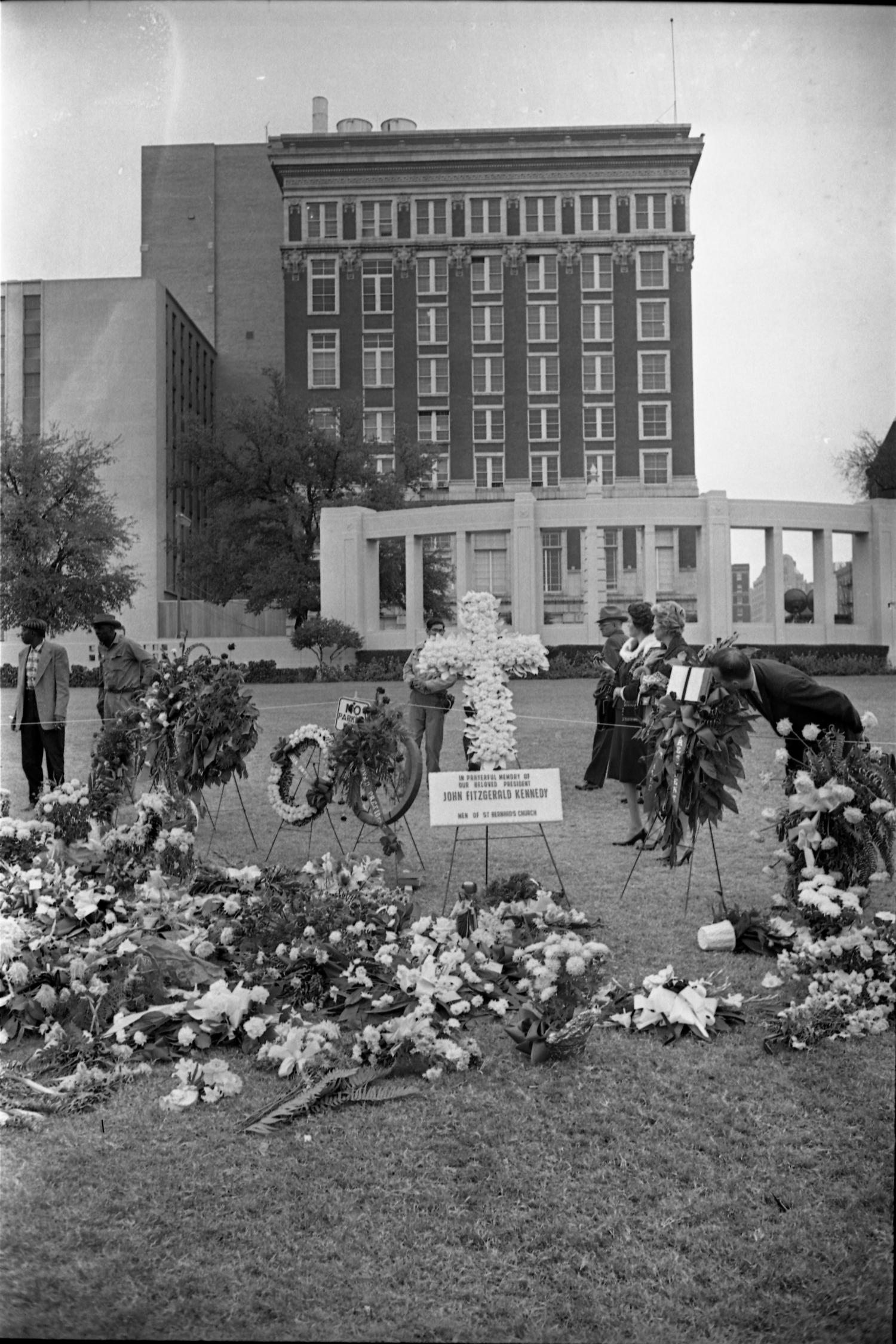 Memorial Flower Arrangements In Dealey Plaza On November
