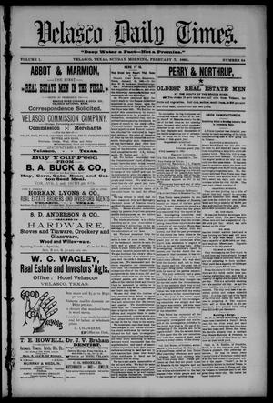 Velasco Daily Times (Velasco, Tex.), Vol. 1, No. 54, Ed. 1 Sunday, February 7, 1892
