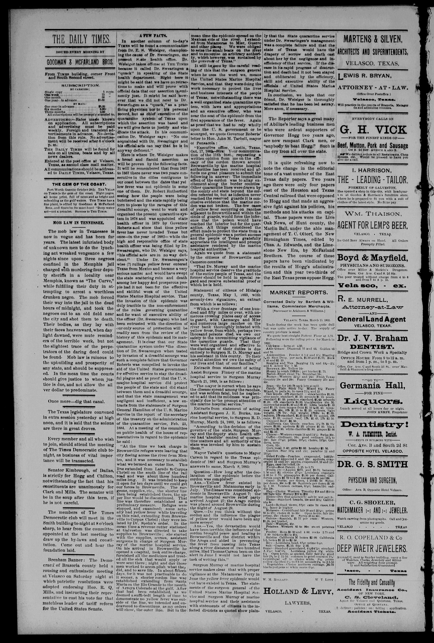 Velasco Daily Times (Velasco, Tex.), Vol. 1, No. 85, Ed. 1 Tuesday, March 15, 1892                                                                                                      [Sequence #]: 2 of 4