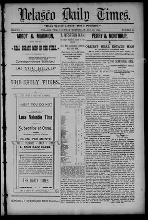 Primary view of object titled 'Velasco Daily Times (Velasco, Tex.), Vol. 1, No. 90, Ed. 1 Sunday, March 20, 1892'.
