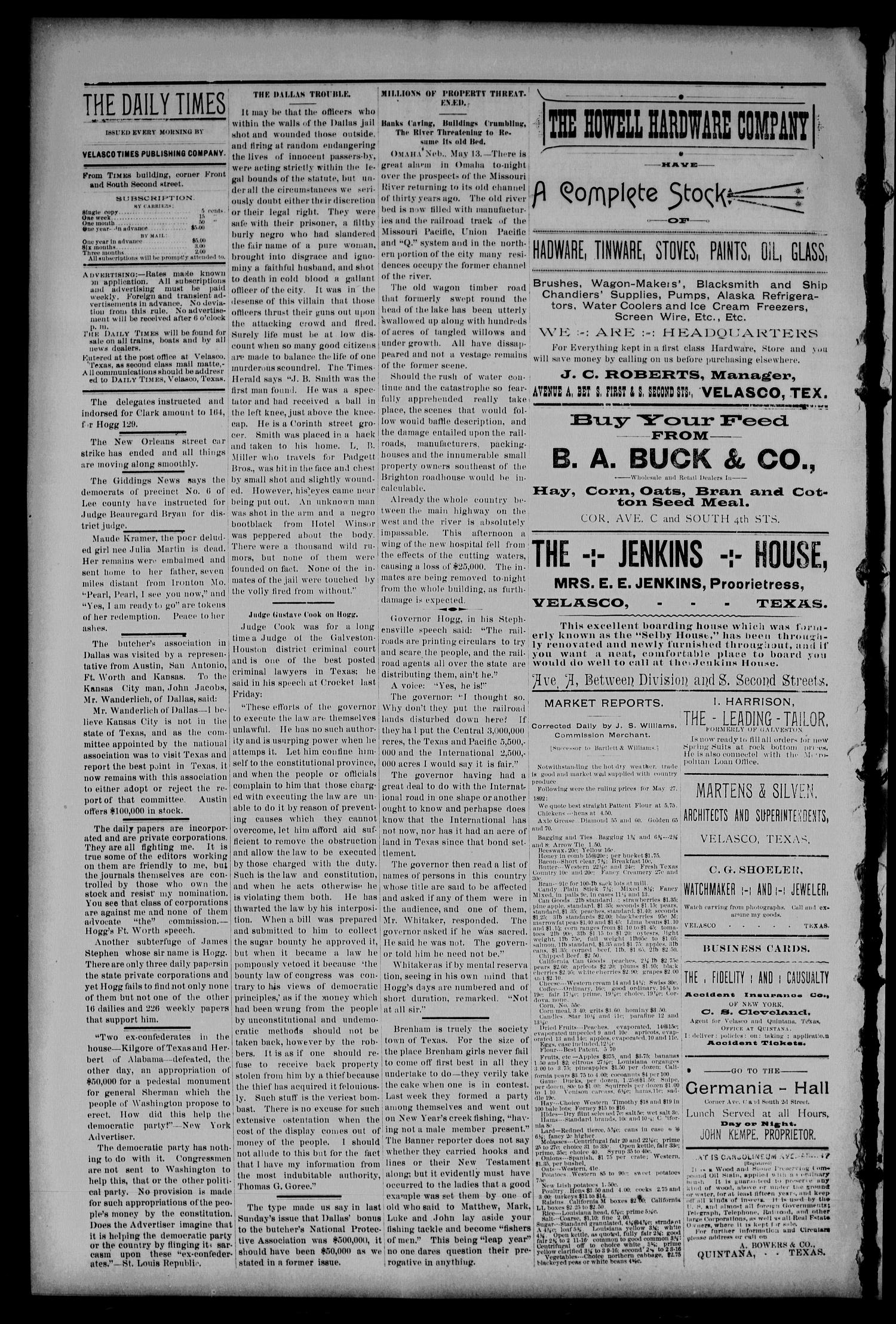 Velasco Daily Times (Velasco, Tex.), Vol. 1, No. 148, Ed. 1 Tuesday, May 31, 1892                                                                                                      [Sequence #]: 2 of 4