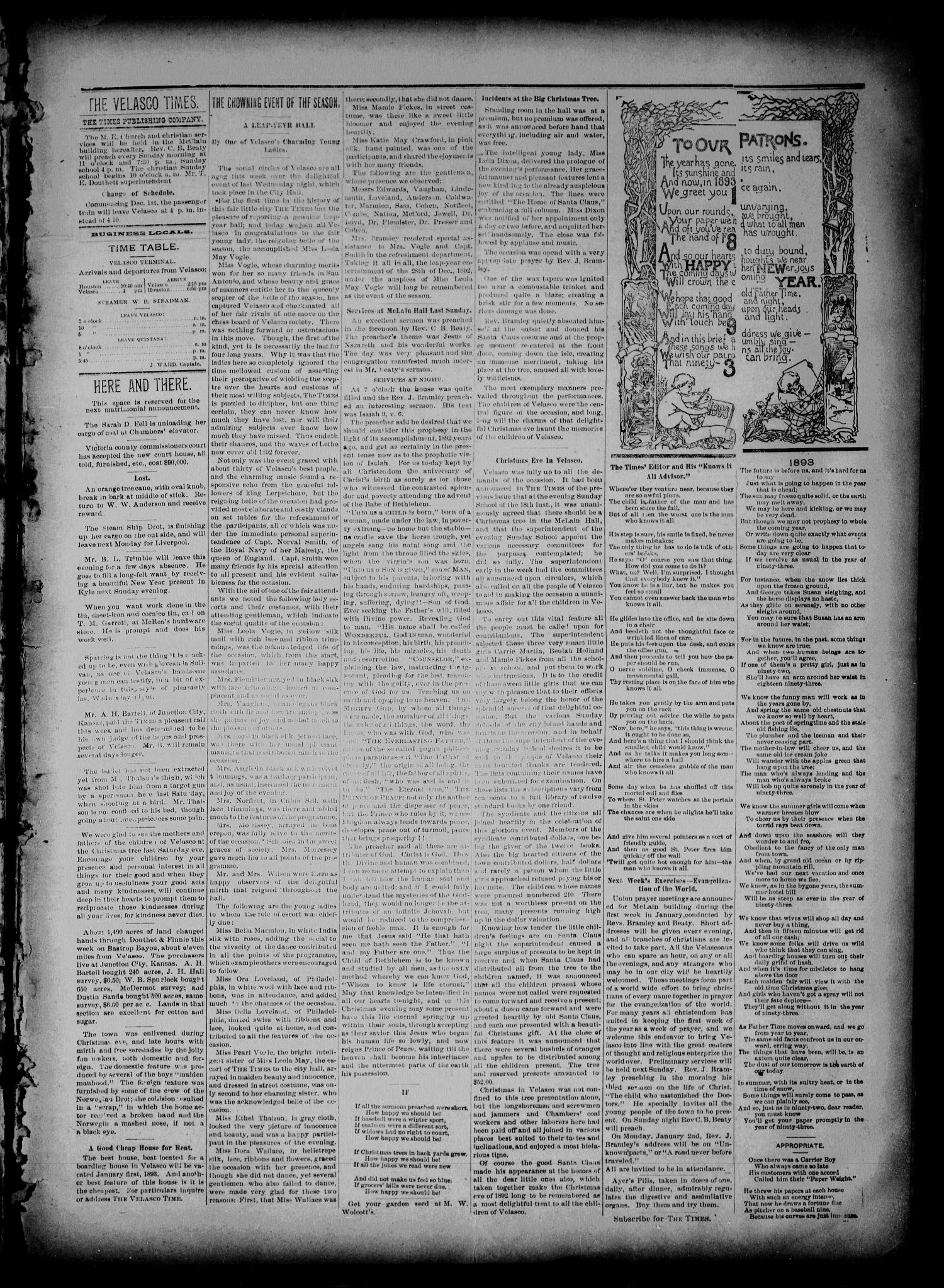 The Velasco Times (Velasco, Tex.), Vol. 2, No. 18, Ed. 1 Friday, December 30, 1892                                                                                                      [Sequence #]: 3 of 4