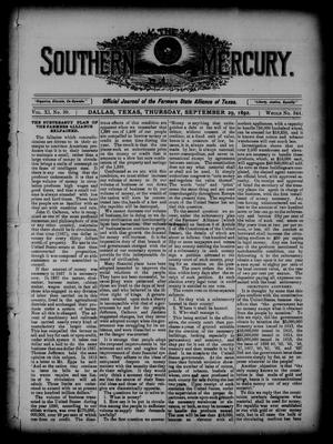 Primary view of object titled 'The Southern Mercury. (Dallas, Tex.), Vol. 11, No. 39, Ed. 1 Thursday, September 29, 1892'.