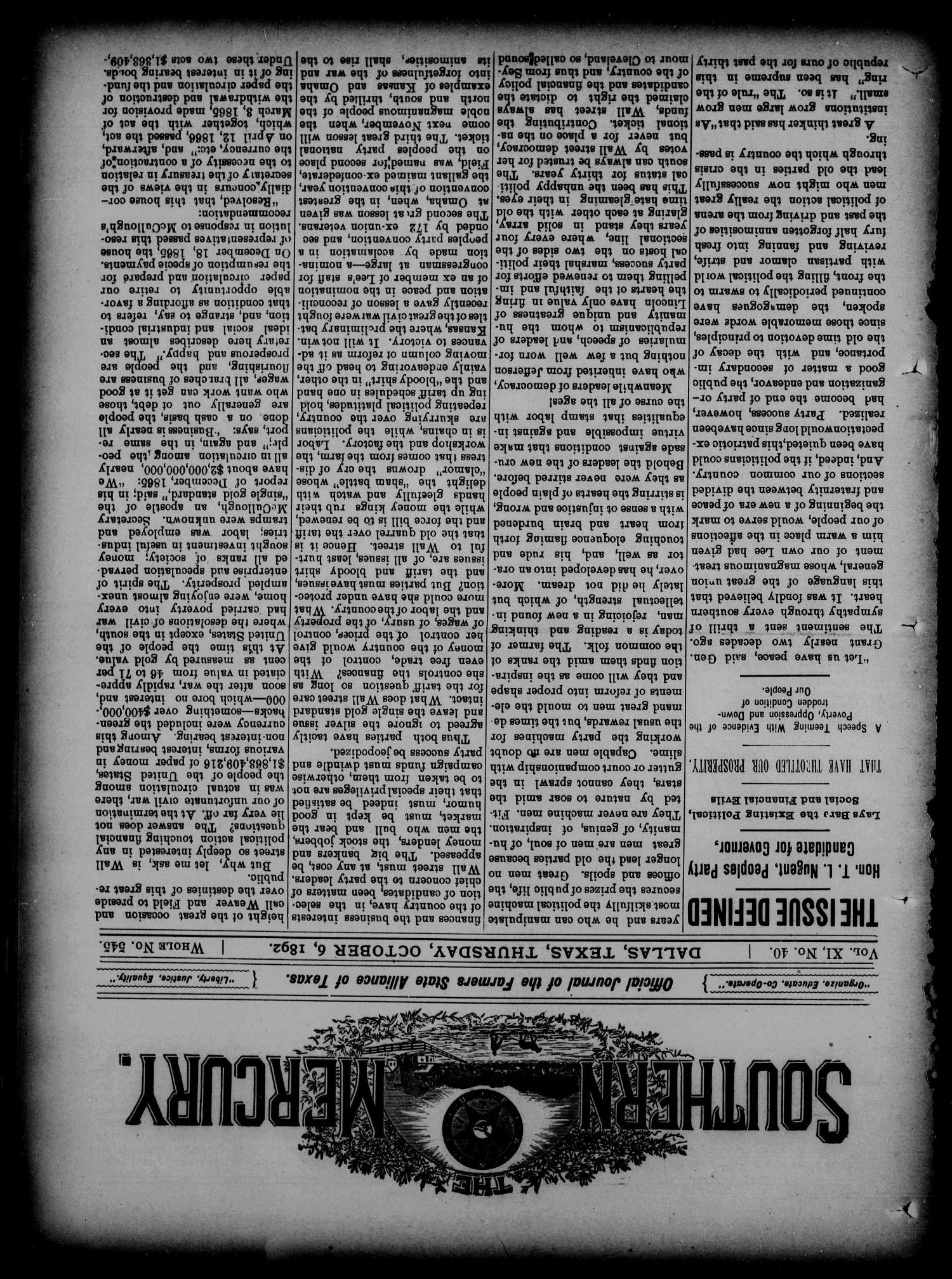The Southern Mercury. (Dallas, Tex.), Vol. 11, No. 40, Ed. 1 Thursday, October 6, 1892                                                                                                      [Sequence #]: 1 of 16