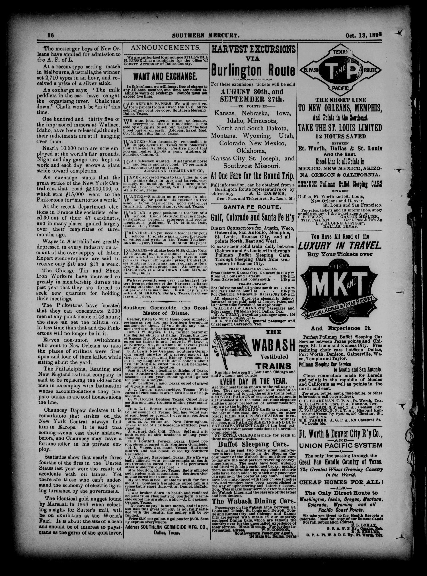 The Southern Mercury  (Dallas, Tex ), Vol  11, No  41, Ed  1