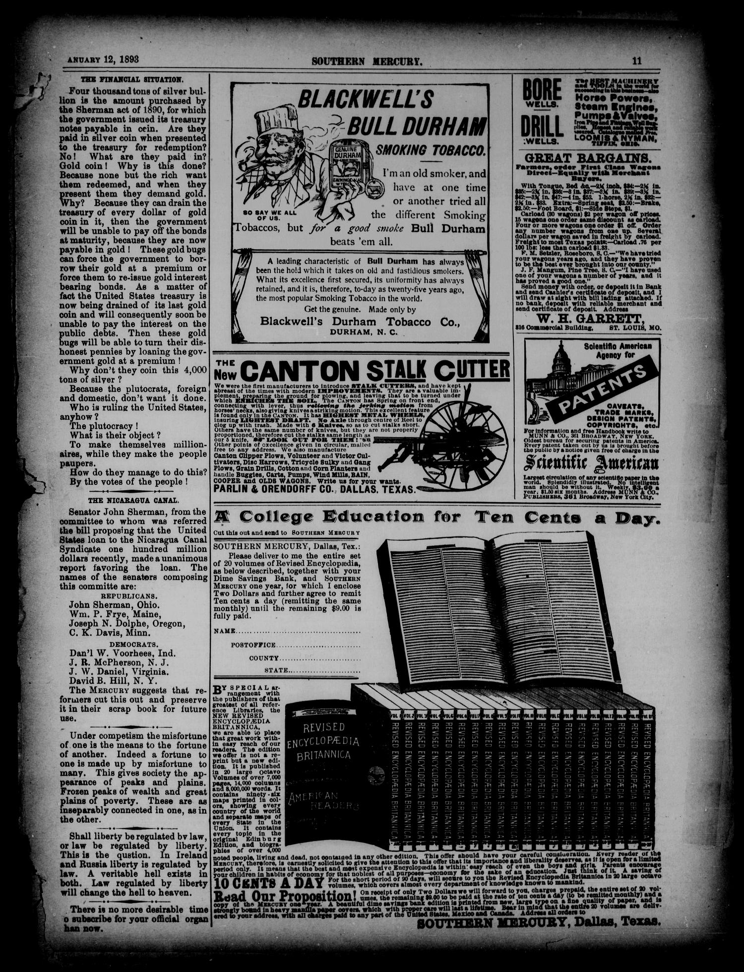 The Southern Mercury. (Dallas, Tex.), Vol. 12, No. 2, Ed. 1 Thursday, January 12, 1893                                                                                                      [Sequence #]: 11 of 16