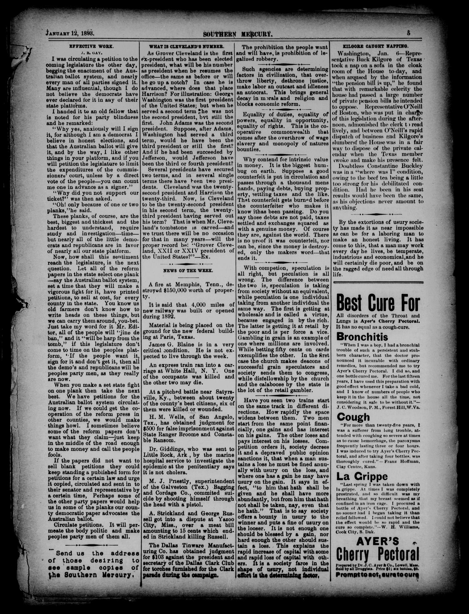 The Southern Mercury. (Dallas, Tex.), Vol. 12, No. 2, Ed. 1 Thursday, January 12, 1893                                                                                                      [Sequence #]: 5 of 16
